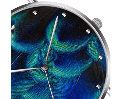 Peacock Feather Blue Leather EAA-B022S