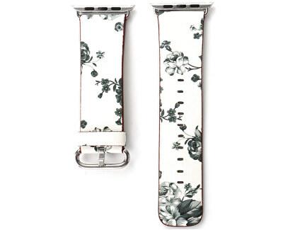 Kožený řemínek pro Apple Watch s motivem květin - bílo-černý 42/44 mm