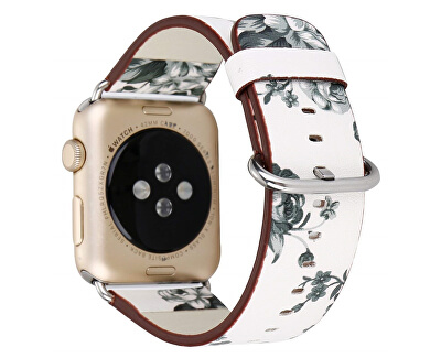Kožený řemínek pro Apple Watch s motivem květin - bílo-černý 38/40 mm