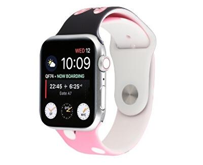 Silikonový řemínek pro Apple Watch - Růžovo-černý Disney 38/40 mm
