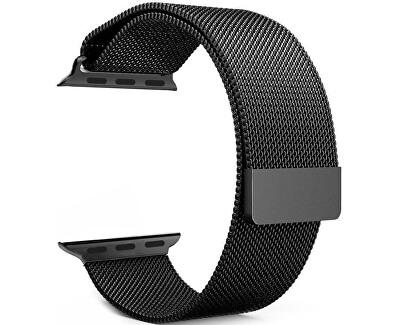 Ocelový milánský tah pro Apple Watch - Černý 42/44 mm