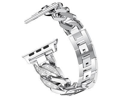 Kovový tah Silver pro Apple Watch - 42/44 mm - SLEVA
