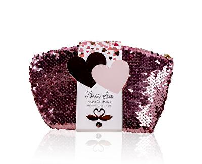 Set cosmetic cu parfum de magnolie într-o pungă cu paiete Heart Cascade