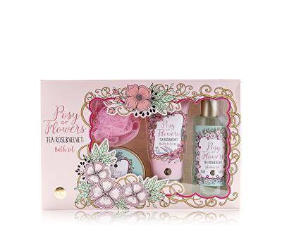 Set cosmetice cu parfum de ceai a crescut de catifea și Posy de flori