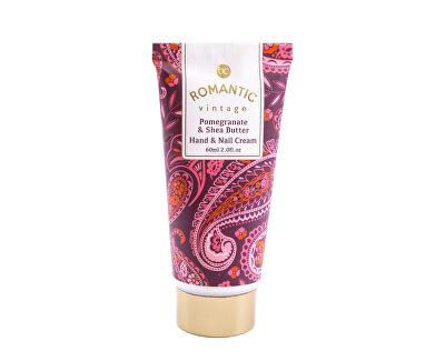 Cremă de mâini cu pompă cu parfum de rodie și unt de shea Romantic Vintage Hand & Nail Cream 60 ml