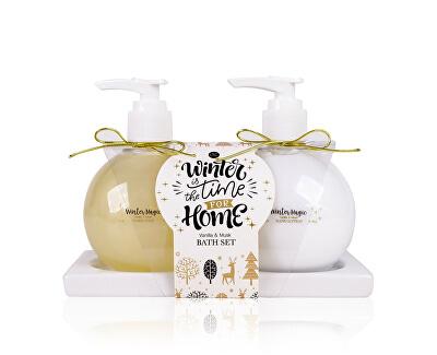 Set cadou pentru îngrijirea mâinilor Vanilla & Musk Winter magiccu săpunieră din ceramică.