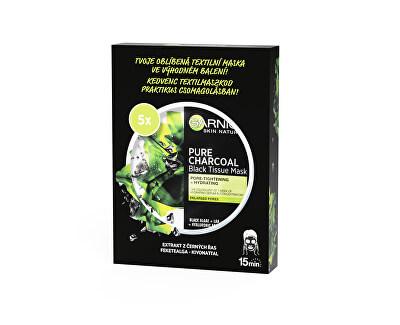 Mască neagră textil cu extract de alge marine Pure Charcoal Naturals cutanate (Black Tissue Mask) 5 buc.