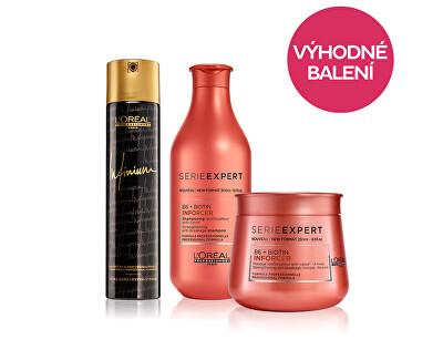 Pachet redus, Șampon pentru întărire pentru părului fragil Inforcer 300 ml + Mască de întărire Inforcer 250 ml + Spray profesional pentru păr cu fixare puternică 300 ml