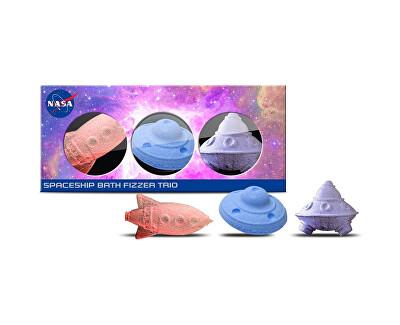 Geschenkset mit funkelnden Badebomben Nasa (Spaceship Bath Fizzer Trio) 3 x 90 g