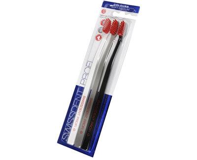 Zubní kartáček Colours Soft-Medium 2 + 1 ZDARMA (černá + bílá + šedá)