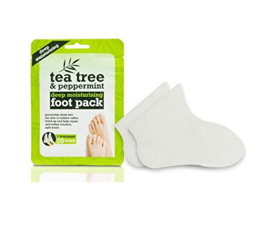 Hydratační ponožky na nohy Tea Tree & Peppermint (Deep Moisturising Foot Pack) 1 pár