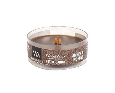 Lumânare aromatică mică cu fitil din lemn Amber and Incense 31 g