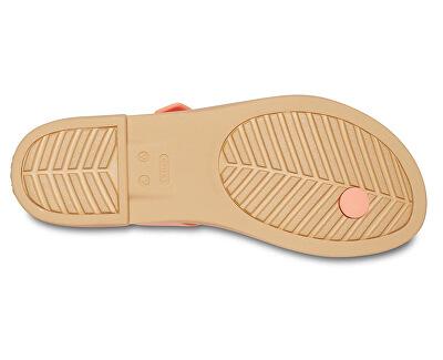 Dámské žabky Crocs Tulum Toe Post Sandal W Grapefruit/Tan 206108-82R
