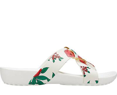 Dámské pantofle Crocs Serena Prntd Cross Band Slde W Floral/White 206434-97E