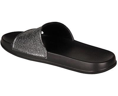 Papuci de damă Tora Black / Silver Glitter 7082-301-2200