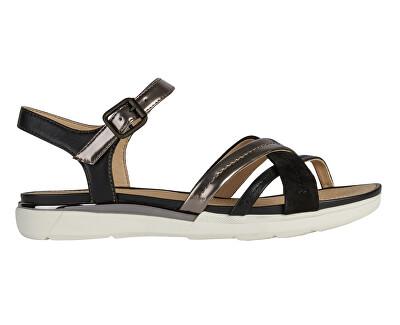Sandale pentru femei D SANDAL HIVER D02GZA-0BN85-C9247 LEAD/BLACK