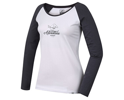Tricou pentru femei cu mâneci lungi FABRIS bright white / castlerock