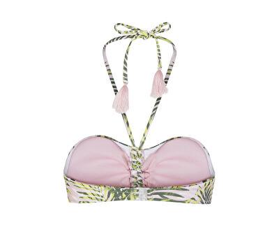 Dámská plavková podprsenka Bandeau 17101664 Candy Pink LEAF PRINT