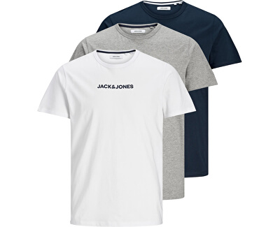 3 PACK - pánské triko JACRAIN Regular Fit 12184812 Light Grey Melange Navy blazer - White