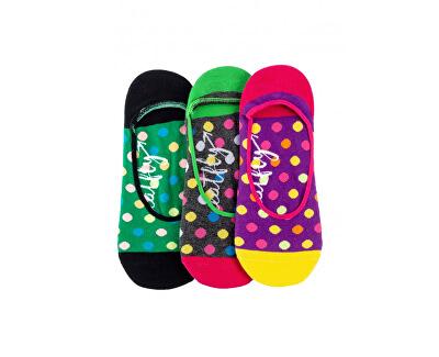 3 PACK - dámské ponožky Low Big Dots 1