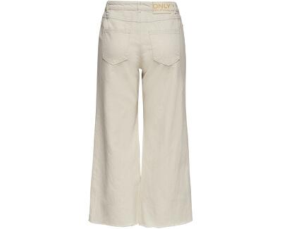 Dámské kalhoty ONLSONNY HW WIDE CROP DNM JEANS YORK Ecru