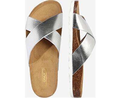 Dámské pantofle ONLMADISON LEATHER Silver