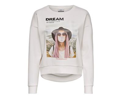 Felpa da donna ONLZIGGY L / S O-NECK BOX SWT CloudDancer DREAM
