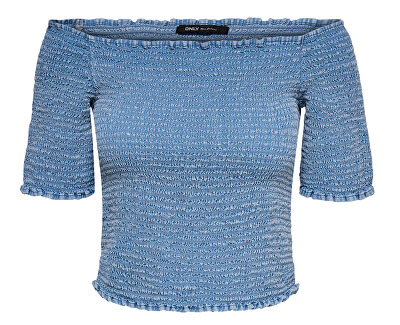 Dámské triko ONLANDREY OFF SHOULDER  DNM TOP Medium Blue Denim