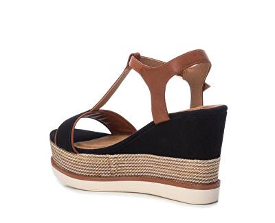 Dámské sandále Black Pu Combined Ladies Sandals 69580 Black