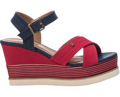Dámské sandále Red Textile Ladies Sandals 69595 Red