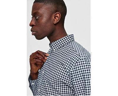 Pánska košeľa SLHSLIMGINGHAM SHIRT LS CHECK EX Dark sapp check Tops B 12