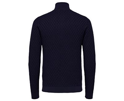 Pánsky sveter SLHKENT HIGH ZIP NECK B Maritime Blue - Tops B 12