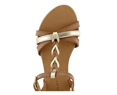Sandale din piele pentru femei 1-1-28251-24-394 Cognac/Gold
