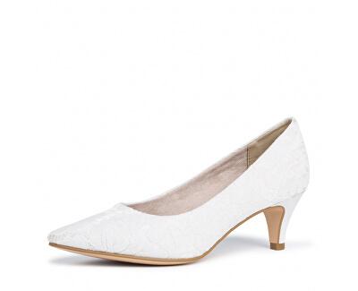 Scarpe con tacco da donna 1-1-22415-24-474 Ivory Macramee