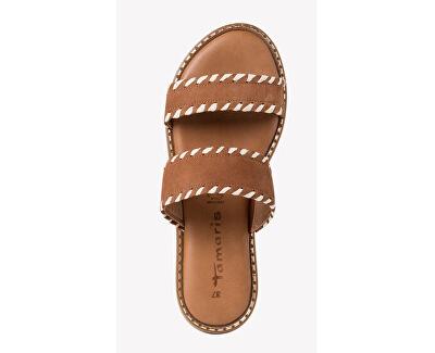 Papuci din piele pentru femei 1-1-27128-34-305 Cognac