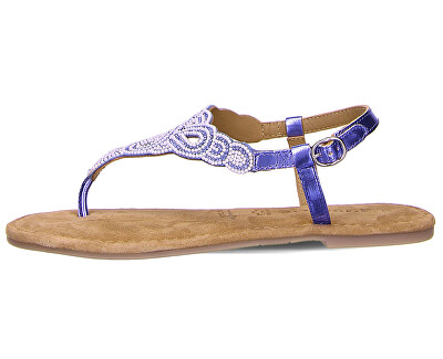 Sandali da donna in pelle 1-1-28153-24-831 Bleu Glam Comb