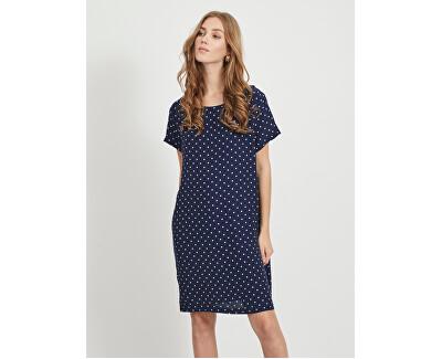 Dámské šaty VIPRIMERA S/S DRESS-FAV LUX Navy Blazer SNOW WHITE DOT 0.5 CM