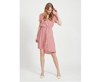 Dámské šaty VIPRIMERA WRAP S/S DRESS-FAV LUX Dusty Cedar SNOW WHITE STRIBE