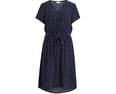 Dámské šaty VIPRIMERA WRAP S/S DRESS-FAV LUX Navy Blazer SNOW WHITE DOT 0.5 CM