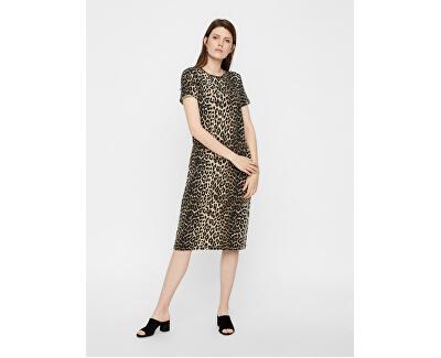 Dámské šaty VMGAVA SS AOP DRESS VMA Oatmeal LEOPARD