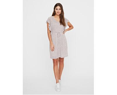Frauen Kleid VMRAKEL 10230826 Birch Stripes : BROWNIE STRIPES