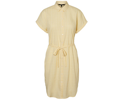 Dámské šaty VMHEAVEN SL ABK SHIRT DRESS WVN Banana Cream SNOW WHITE