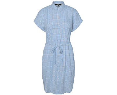 Dámské šaty VMHEAVEN SL ABK SHIRT DRESS WVN Placid Blue SNOW WHITE