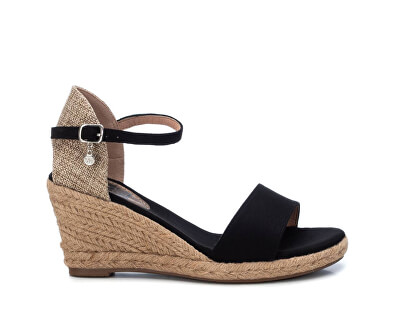 Dámské sandále Black Microfiber Ladies Sandals 34258 Black