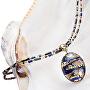 Erstaunliche ägyptische Damenhalskette mit Lampglasperle mit NP28 aus 24 Karat Gold