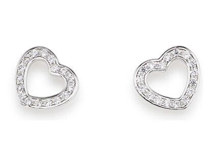 Originální stříbrné náušnice se zirkony Love EHES