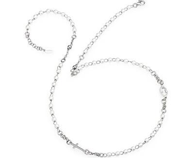 Originálne strieborný náhrdelník s perlami Rosary CROBB3