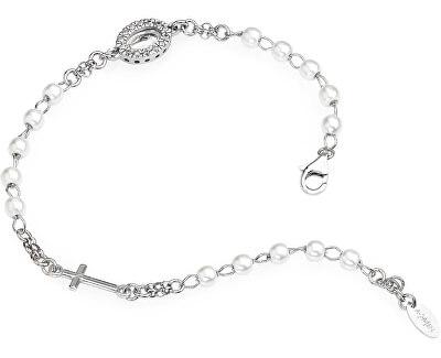 Originálne strieborný náramok s perlami a zirkónmi Rosary BROBBZ-M3