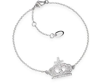 Originální stříbrný náramek se zirkony Crowns BRC2