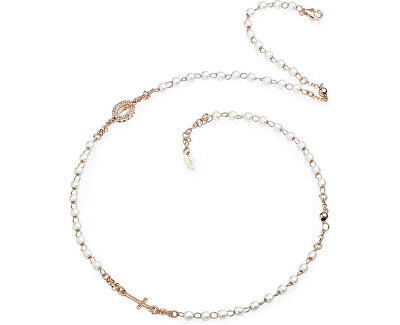 Růžově pozlacený stříbrný náhrdelník s perlami Rosary CRORBZ-M3